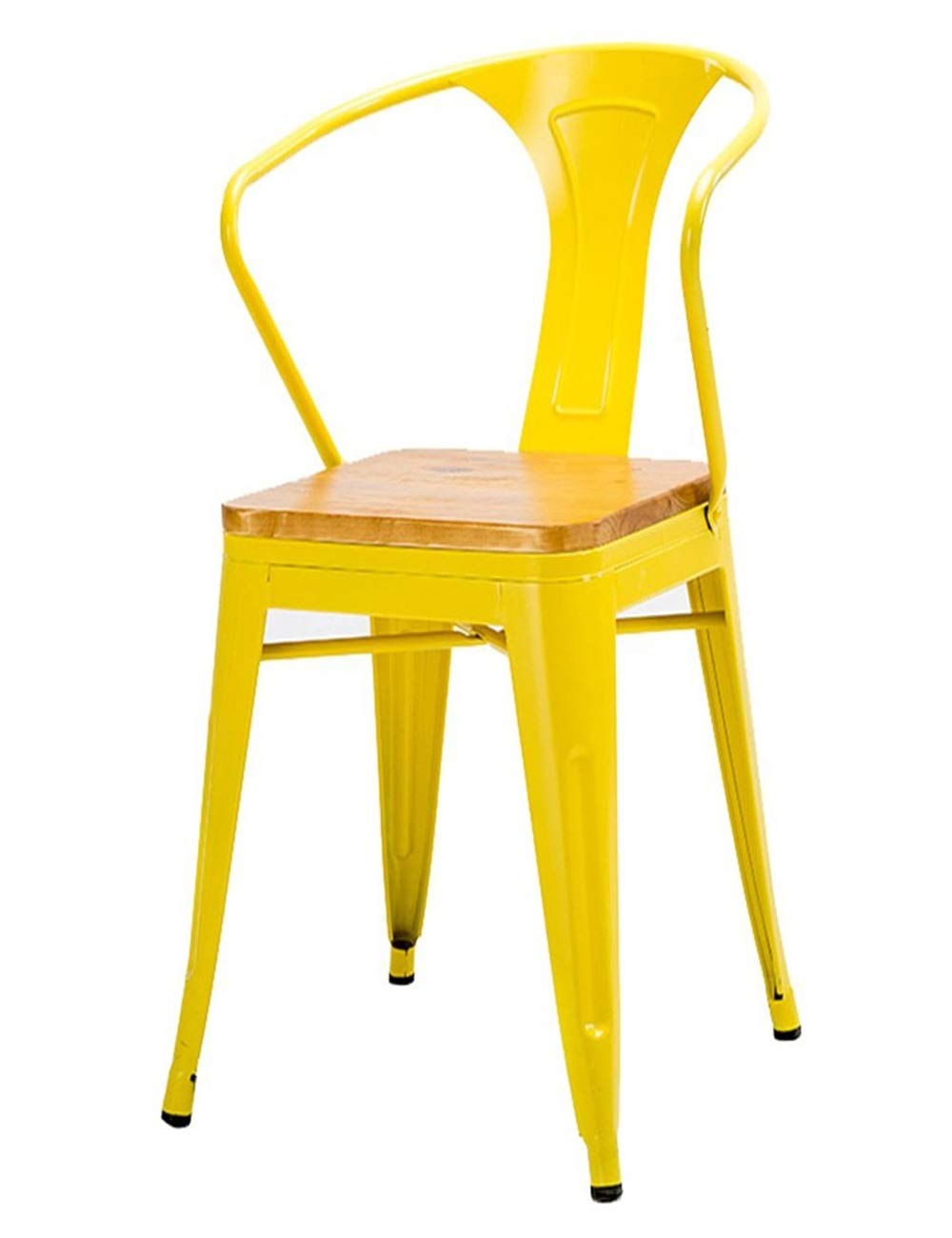 Yellow XY Bar Stool Solid Wood High Stool Kitchen Chair Backrest High Chair Leisure Seat Retro Round Table Retro Black Red Yellow bluee 008