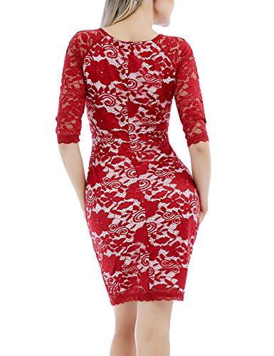 Boda Encaje Bodycon Borgoña Vestido para para Larga Fiesta con Vintage Mujer Vestido Floral con para Manga Cóctel 44ptYxq