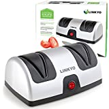 LINKYO Electric Knife Sharpener featuring Automatic Blade Positioning Guides - 2 Stage Knife Sharpening System