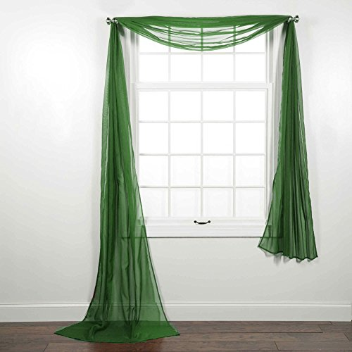 CURTAIN ONLINE'S 1PC VOILE SHEER WINDOW SCARF SWAG TIER TOPPER VALANCE IN 36X216″ IN EMERALD