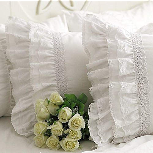 One Piece Shabby Vintage White Embroidery Lace Ruffle Matching Pillowcase 1122 (Standard 20