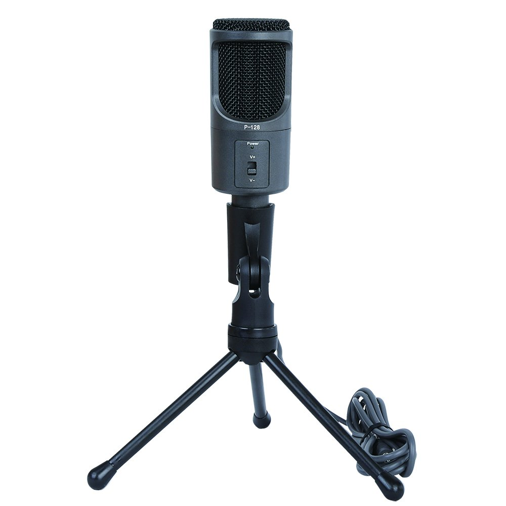 TEMO 3.5mm Studio Professional Microphone Mic with Stand For Audio Sound Recording Skype Desktop PC Laptop Notebook