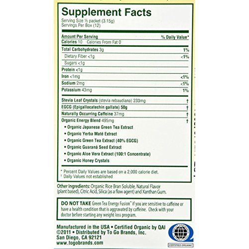 To Go Brands Green Tea Energy Fusion - 1.32oz - Pack of 6 - Scientifically formulated to support metabolism and Fuel you need to energize