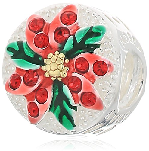 (chamilia sparkling poinsettia - light siam swarovski crystal w gold electroplating and red and green enamel charm )