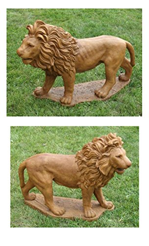 Set of 2 Majestic Lion Cast Stone Concrete Outdoor Garden Statues Review