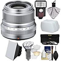 Fujifilm 23mm f/2.0 XF R WR Lens (Silver) with 3 UV/CPL/ND8 Filters + Flash + Soft Box + Diffuser Bouncer + Kit