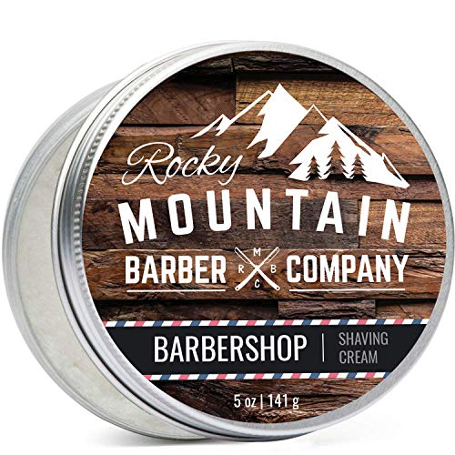 (Shaving Cream for Men - Barbershop Scent - Hydrating, Rich & Thick Lather for All Skin Types Including Sensitive Skin by Rocky Mountain Barber Company - 5 Ounce Tin)