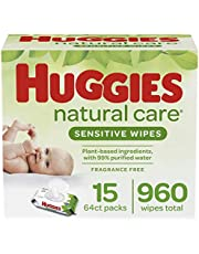 Huggies Natural Care Sensitive Baby Wipes, UNSCENTED, 15 Flip-Top Packs (960 Wipes Total)