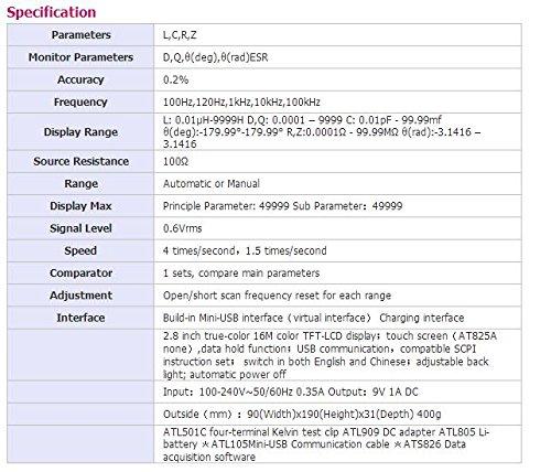 AT826 Handheld LCR Digital Meter 100Hz, 120Hz, 1kHz, 10kHz, 100kHz