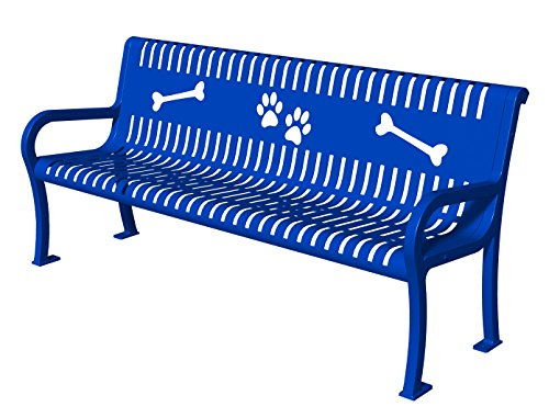 (BarkPark Pooch Perch Park Bench, Slat Design, Blue )