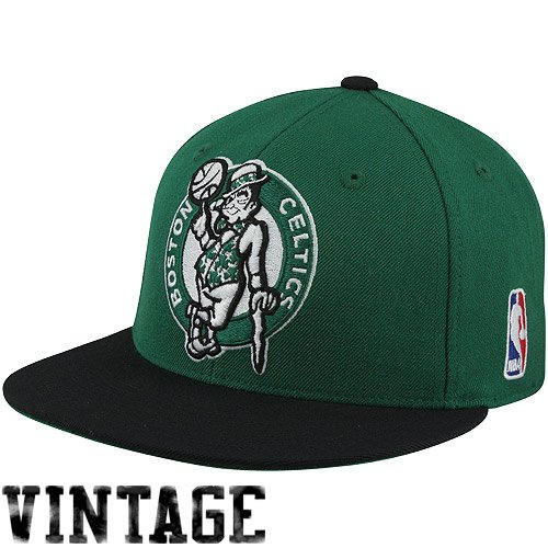 NBA Mitchell & Ness Boston Celtics Vintage Logo Two-Toned Fitted Hat - Kelly Green/Black (7 3/8)
