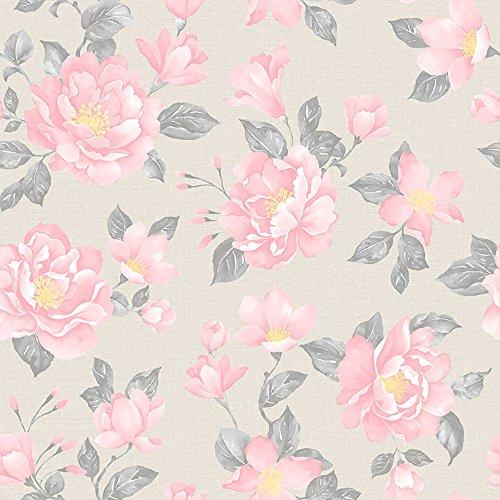 Papel de Parede Floral Bobinex Uau Rosa/Bege