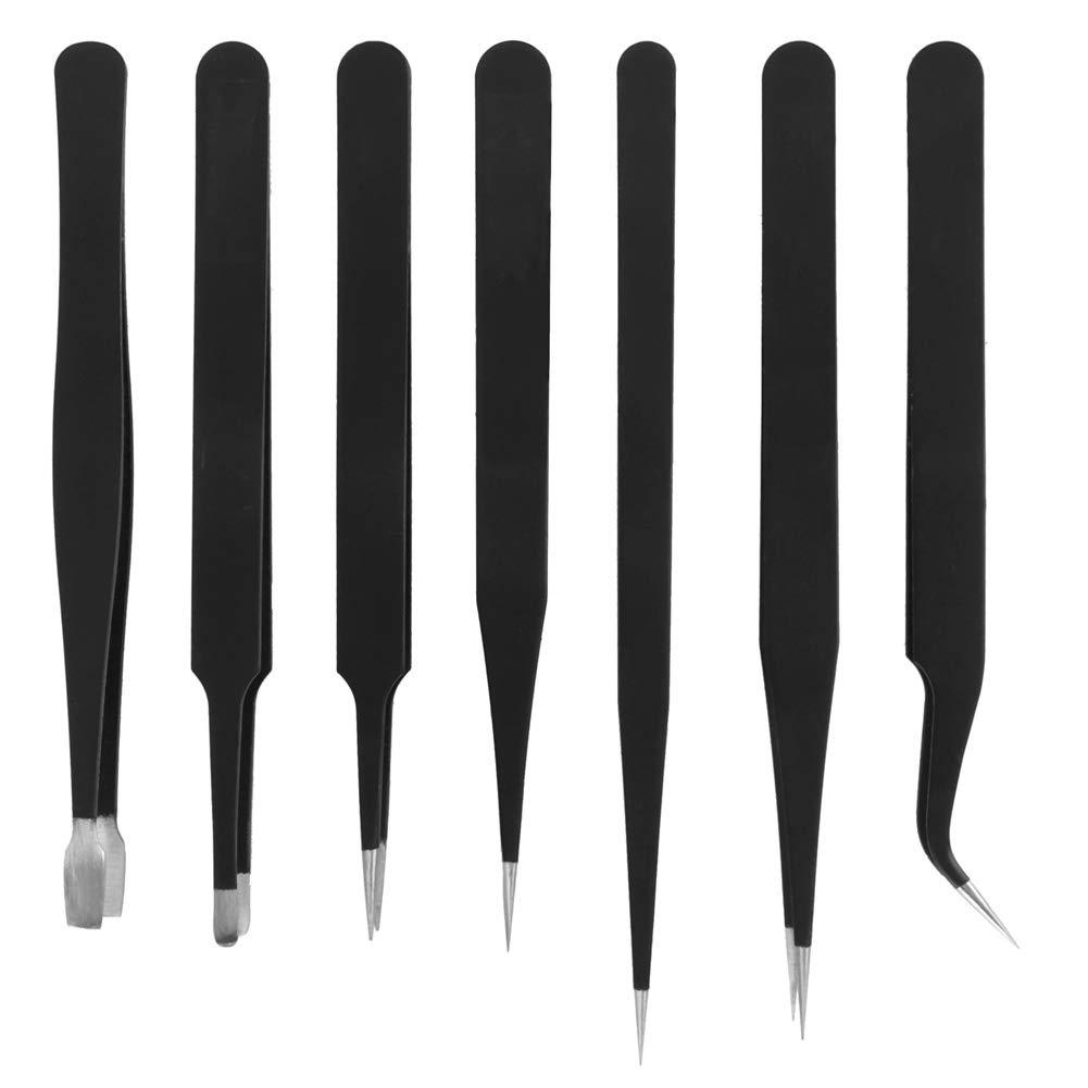 pinzas de precisi/ón de herramientas electr/ónicas de precisi/ón antiest/ática pinzas de precisi/ón de carbono conductivo de acero inoxidable Juego de pinzas de 7 piezas