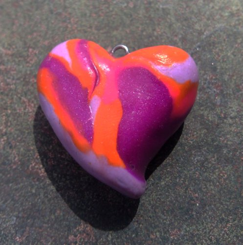 (Polymer Orange/Purple Swirl Heart Necklace)