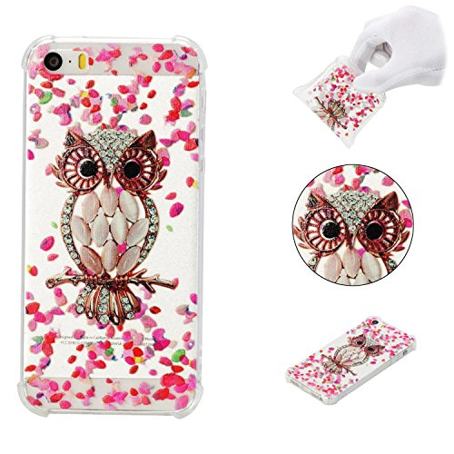 iPhone 5SE Case,iPhone 5S Case,AMYM Amusing Whimsical Painted Design Transparent Shockproof TPU Soft Case Rubber Silicone Cover for iPhone 5SE/5S/5C/5 (Petal Owl)