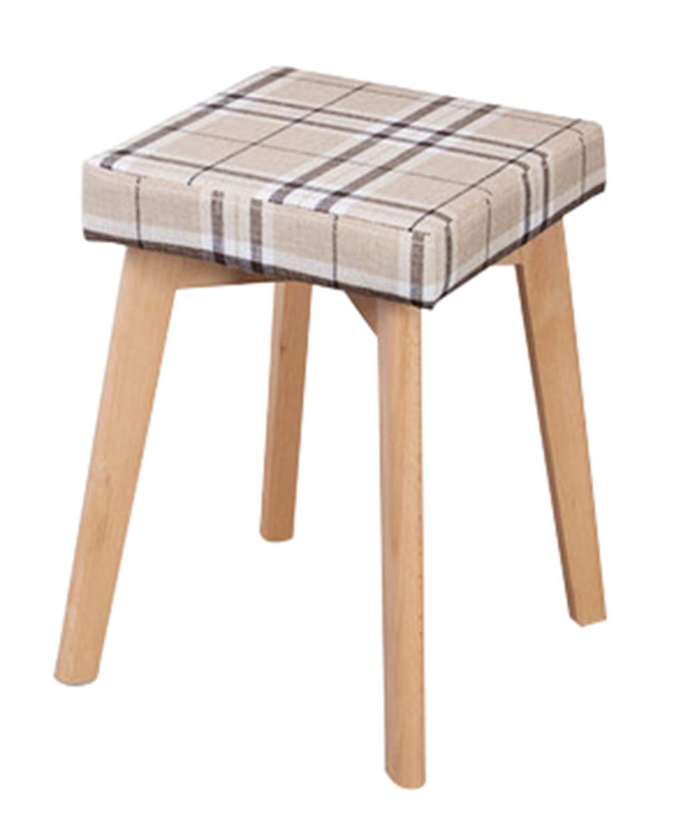 Sofa Stool Solid Wood Wooden Stool Dressing Make-up Cloth Northern Europe Adult Household Bench Removable Square Short Leg Sofa Stool-Plaid