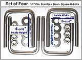 TMW (4) SS Stainless Steel Square U-Bolts Boat Trailer U bolt Ubolt 1/2'' D x 3 1/16'' W x 4 5/16'' L