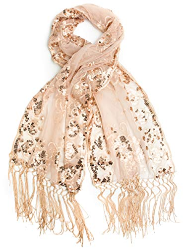 Rose Wrap - Bohomonde Madison Shawl, Long Fringe Sequin Evening Wrap (Rose Gold, One Size)