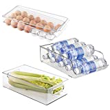 water bottle organizer for fridge - mDesign Refrigerator Storage Organizer Bin, Covered Egg Holder, Water Bottle Holder for Kitchen - Set of 3, Clear