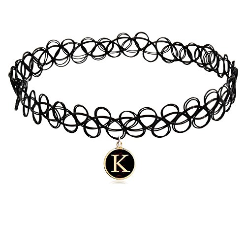 COZYLIFE Black Stretch Gothic Tattoo Henna Magic Choker Necklace with 26 Letter Pendant (K)