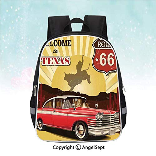 Casual Backpack,Welcome to Texas Signboard Poster with Cadillac Art Car Cowboys Town Rodeo Decor,13