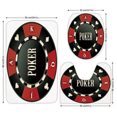 3 Piece Bathroom Mat Set,Poker Tournament,Casino Chip with Poker Word in Center Rich Icon Card Suits Decorative,Army Green Vermilion White,Bath Mat,Bathroom Carpet Rug,Non-Slip