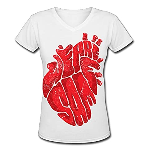 HEART V-neck Female Comfortable Tshirts Women's Fashion (Hart Bit Watches)