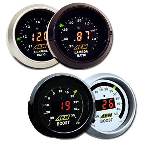 AEM 2 Gauge Display Set UEGO WideBand Air/Fuel Ratio Gauge + Boost Pressure Gauge -30-35psi + MAPerfomrance Lanyard