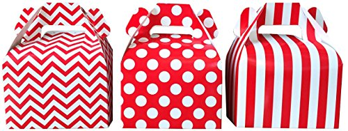 Outside the Box Papers Chevron, Stripe and Polka Dot Paper Gable Favor Boxes 36 Pack Red, White (Red Gift Boxes)