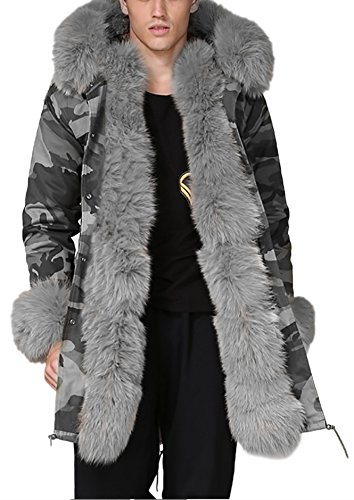 Roiii Mens Winter Warm Thick Faux Fur Waterproof Outdoor Hood Parka Long Trench Jacket Over Coat Plus Size S-3XL (Trench Coat Men With Fur Hood)