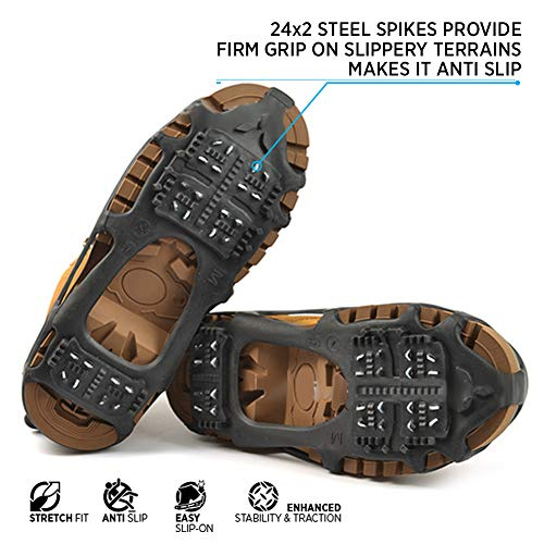 Quadtrek All-Terrain Slip On Traction Cleats | Ideal for Snow, Hiking, Trekking and Mud | Compatible with All Shoes, Boots, Sneakers, Sandals and Loafers (Black, Medium) ()