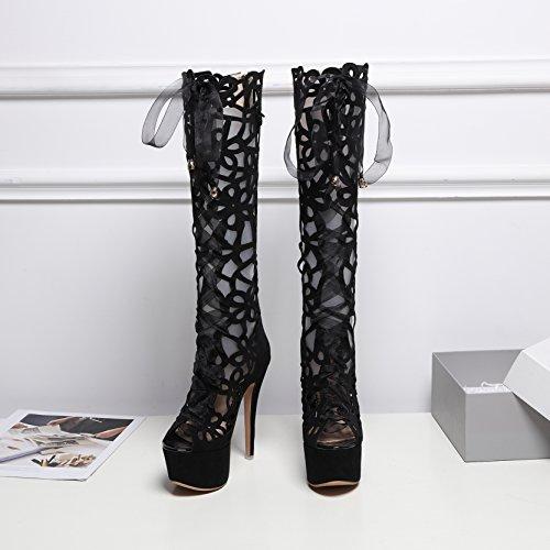 Mujer Aiyoumei Negro Vestir De Zapatos Terciopelo r868Iq