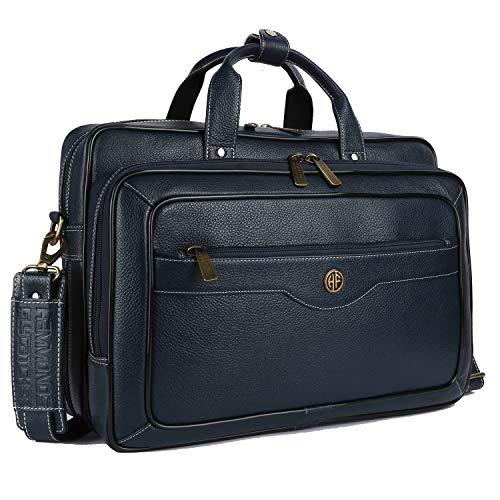 Hammonds Flycatcher Men Leather Expandable Laptop Messenger Bag with Trolley Straps LB162BU