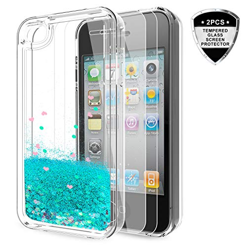 iPhone 4S Case with Tempered Glass Screen Protector [2 Pack] for Girls Women,LeYi Cute Shiny Glitter Moving Quicksand Clear TPU Protective Phone Case Cover for Apple iPhone 4/ 4S/ 4G ZX Turquoise