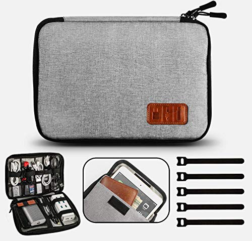 Travel Cable Organizer Bag Waterproof Electronic Accessories Soft Case with 5pcs Cable Ties for USB Drive Phone Charger Headset Wire SD Card Power Bank (Grey)