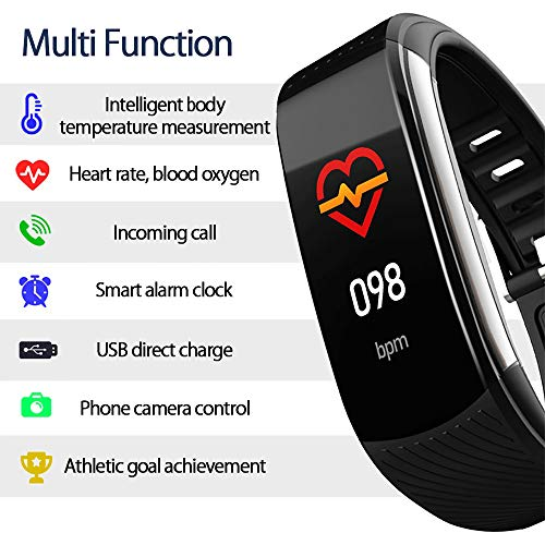 PYBBO Fitness Tracker with Body Temperature Blood Pressure Oxygen Heart Rate Sleep Monitor, IP67 Waterproof Smart Fitness Watch with Step Counter Call Message for Women Men Kids