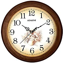 Adalene 14-Inch Wall Clock Large Decorative Living Room Clock - Quiet Battery Operated Quartz Analog Wood Wall Clock - Round Sepia Flower Dial with Fancy Arabic Numerals, Wooden Frame