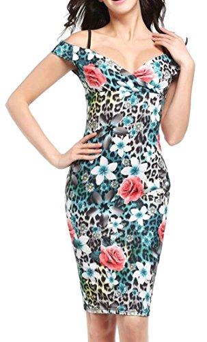 Mid Neck Cromoncent Sexy Dresses Cold V Leopard Shoulder Print Floral Womens xSX8Sap