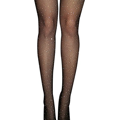 FANCAME Sexy Fishnet Stockings Women's High Waist Sparkle Rhinestone Tight Pantyhose (Rhinestone Black Fishnet (Plus Size Glitter Tights)