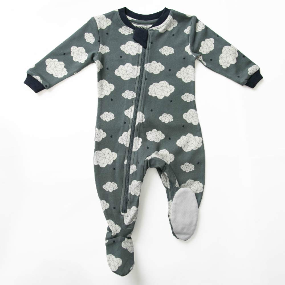 ZippyJamz Organic Baby Footed PJs w/Inseam Zipper - Starry Night (6-9 Mos)