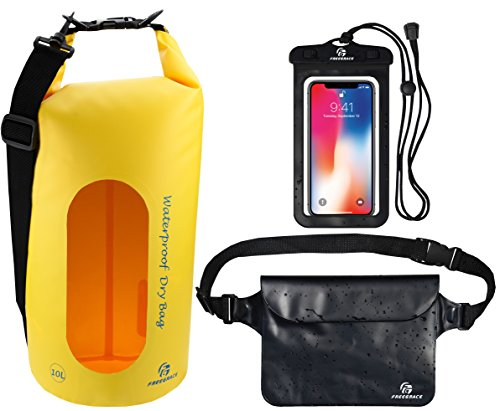 Freegrace Waterproof Dry Bags Set of 3 Dry Bag with 2 Zip Lock Seals & Detachable Shoulder Strap, Waist Pouch & Phone Case - Can Be Submerged Into Water - for Swimming (Yellow(Window), 20L)