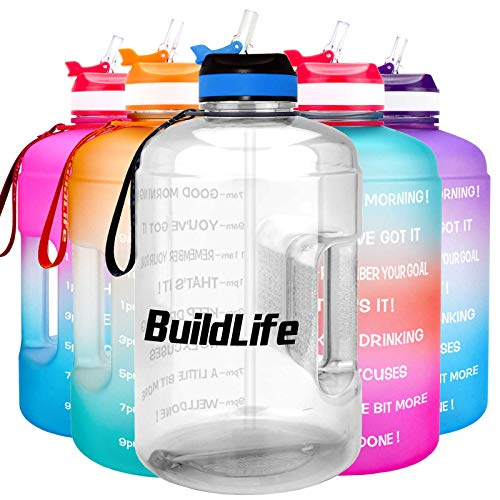 BuildLife Gallon Motivational Water Bottle with Time Marked to Drink More Daily - BPA Free Reusable Gym Sports Outdoor Large