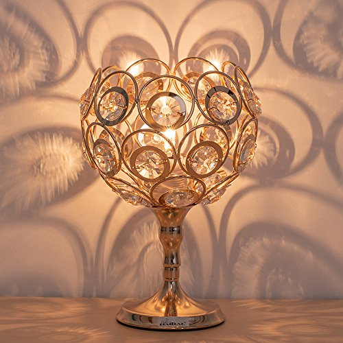 Cheap  HAITRAL Modern Night Lamps - Gold Crystal Bedside Table Lamps with Unique..