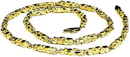 10Kt Solid Yellow Gold Heavy Handmade Nugget Link Chain/Necklace 26