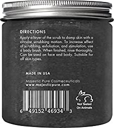 Activated Charcoal Body Scrub and Facial Scrub from Majestic Pure, 10 Oz - Natural Skin Care, Face Cleanser - Promotes Skin Whitening, Reduces Acne Scars, Blackheads and Helps Improve Complexion