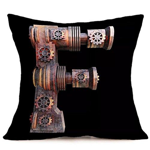 Lookatool 9 Design Vintage Alphabet Linen Pillow Case Sofa Waist Throw Cushion Cover ()