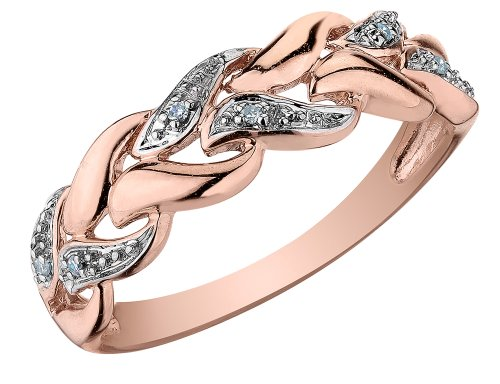 Diamond Ring in 10K Pink Gold, Size 7