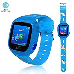 Kids Smart Watch Waterproof Smartwatch with GPS Tracker Smart Phone Watch IOS/Android SOS Alarm Clock Camera Security Zone Voice Chat Phone Book Sound Guardian Birthday Gift for Kids(Bluish Green)