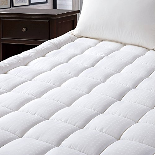 Mattress Pad Cover, 100% Cotton Fabric, Microfiber Filled, Soft, Hypoallergenic, Mattress Topper with Deep (100% Cotton Mattress Pad)