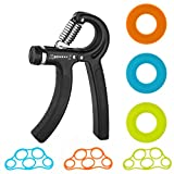 Hand Grip Strengthener, Adjustable Resistance Hand Gripper, Finger Stretcher, Exercise Ring Trainer Equipment for Athletes and Musicians Kit 7 Packs